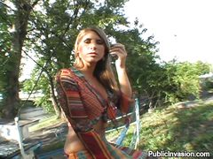 shying to show her assets in public place
