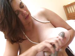 fatty masturbates with black dildo