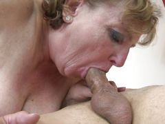 mature swallows cock then bends over